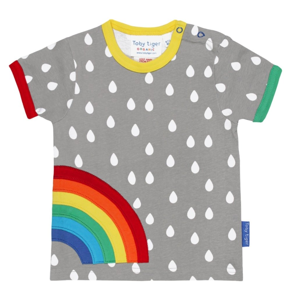 Bambinista-TOBY TIGER-Tops-Organic Raindrop with Rainbow Applique T-Shirt