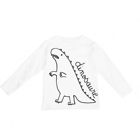 Bambinista-WEXBABY-Tops-'Dinosaure' Long Sleeve T-Shirt White