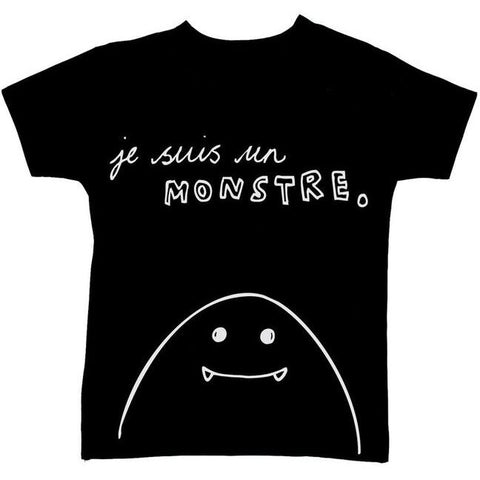 Bambinista-WEXBABY-Tops-'Je Suis un Monstre' Short Sleeve T-Shirt Black