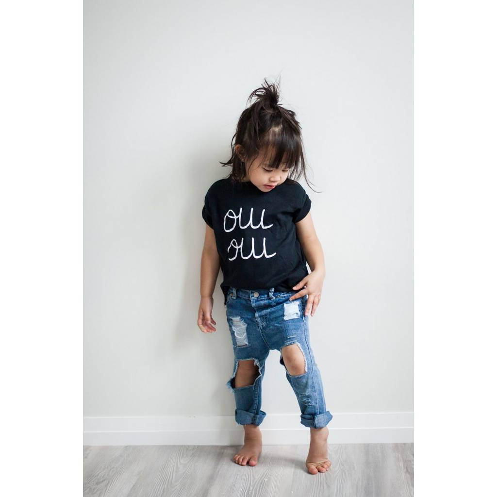 Bambinista-WEXBABY-Tops-'Oui Oui' Long Sleeve T-Shirt Black
