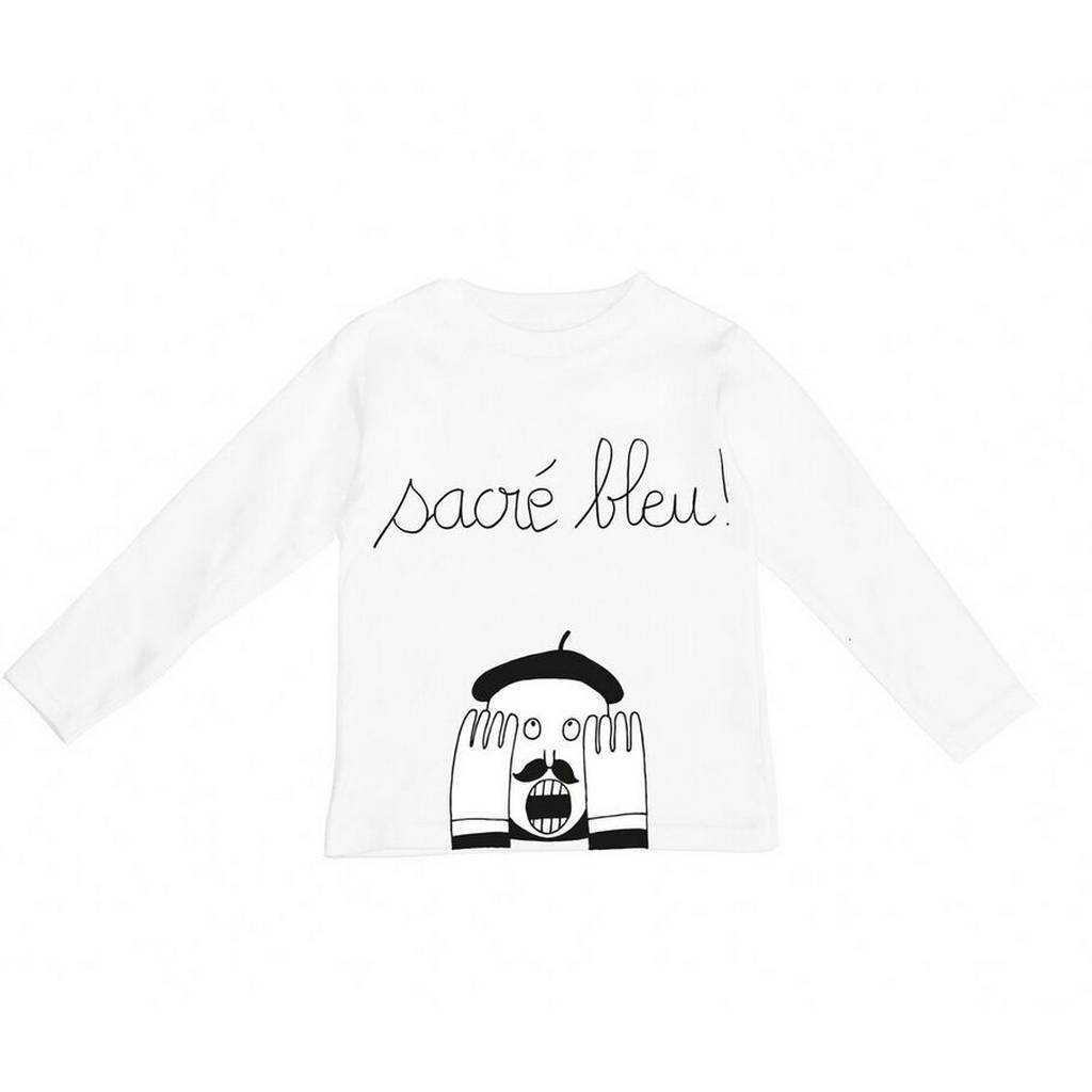 Bambinista-WEXBABY-Tops-'Sacre Bleu' Long Sleeve T-Shirt White
