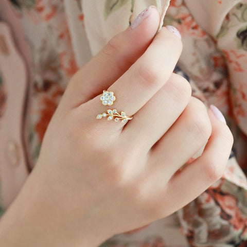 Leaves Flower Ring
