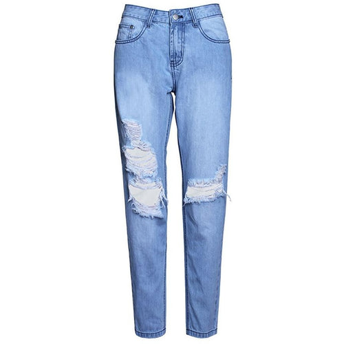 Washed Ripped Denim-[women's clothing]-truthincloth
