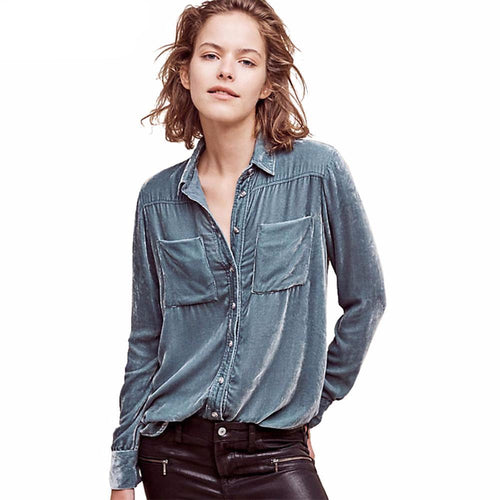 Velvet Pocket Shirt-[women's clothing]-truthincloth