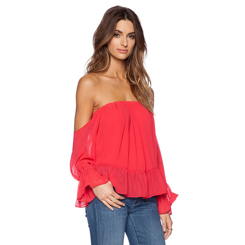 Off Shoulder Frill Blouse-[women's clothing]-truthincloth