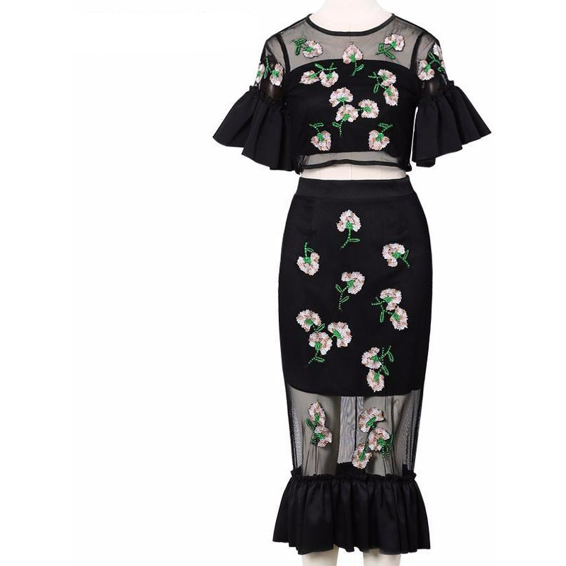 Vintage Floral Two Piece-[women's clothing]-truthincloth