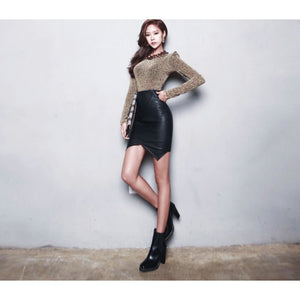 Asymmetric Leather Skirt-[women's clothing]-truthincloth