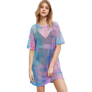Tie Dye Mesh Dress-[women's clothing]-truthincloth