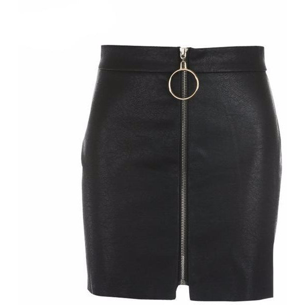 Zip Front Mini Skirt-[women's clothing]-truthincloth