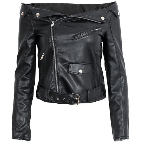 Off Shoulder Moto Jacket-[women's clothing]-truthincloth