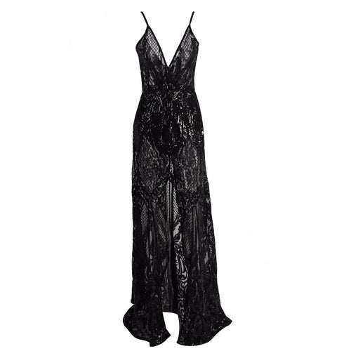 Split Lace Gown-[women's clothing]-truthincloth