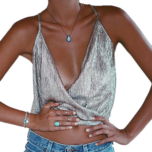 Metallic Crossover Cami-[women's clothing]-truthincloth