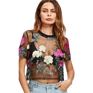 Floral Embroidered Top-[women's clothing]-truthincloth