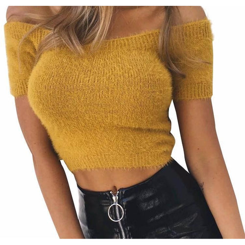 Fuzzy Off Shoulder Knit-[women's clothing]-truthincloth