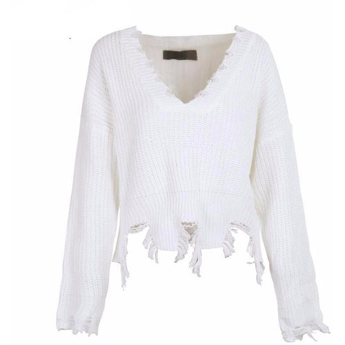 Distressed White Knit-[women's clothing]-truthincloth