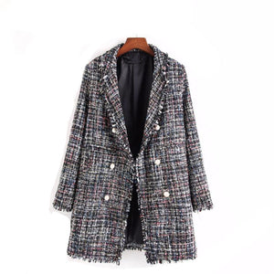 Long Tweed Jacket-[women's clothing]-truthincloth