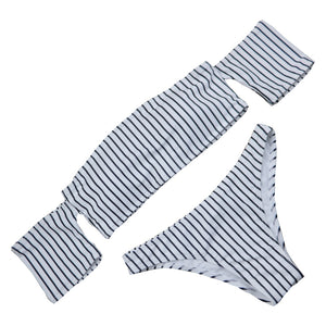 Striped Off Shoulder Bikini-[women's clothing]-truthincloth