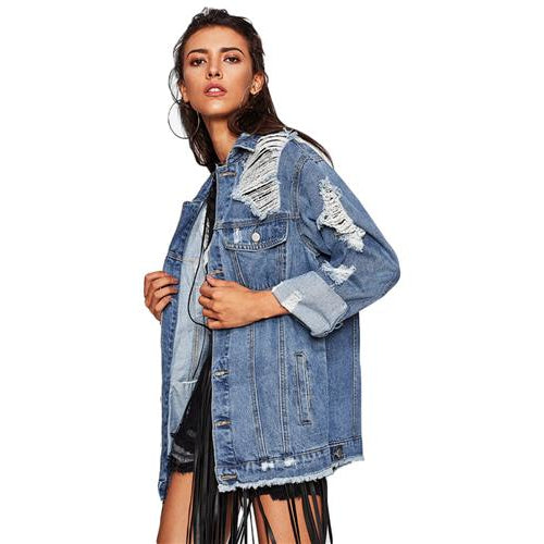 Boyfriend Denim Jacket-[women's clothing]-truthincloth