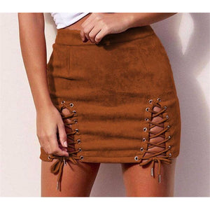 Suede Mini Skirt-[women's clothing]-truthincloth
