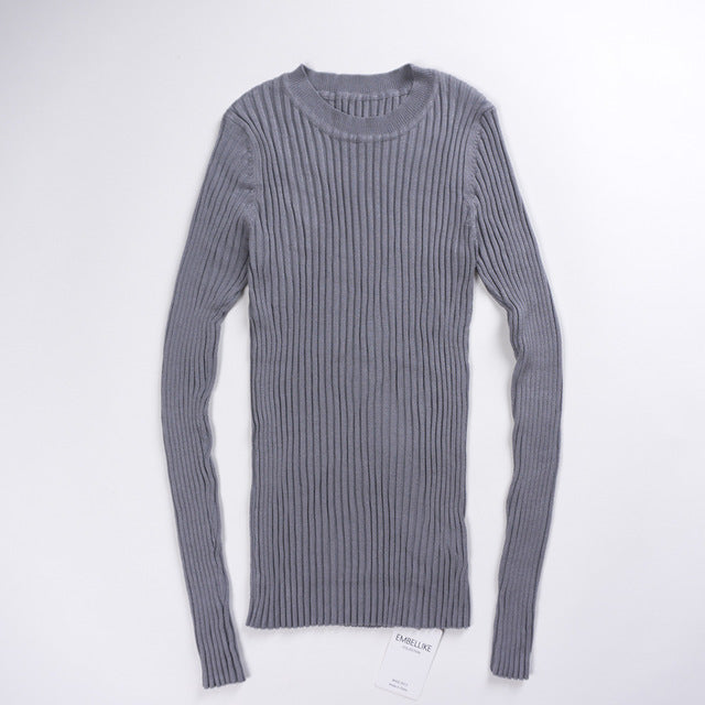 Ribbed Crew Neck Knit