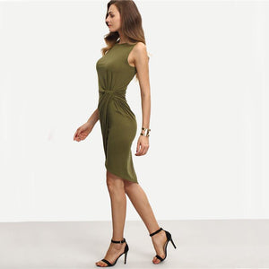 Army Green Knot Dress-[women's clothing]-truthincloth