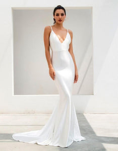 White Deep V Gown