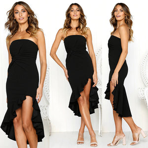 Strapless Black Ruffle Dress