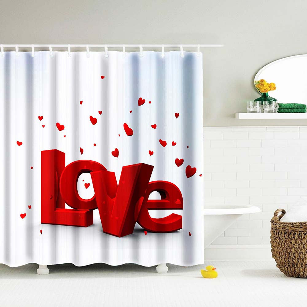 Custom Printed LOVE Water Resistant And Mildew Proof Shower Curtain  (Includes Shower Hooks)