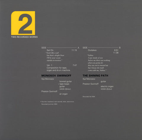 MONOSOV/SWIRNOFF - Two Recorded Works (Volume 2)