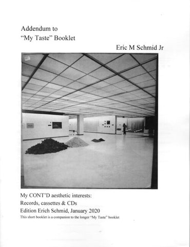 "SCHMID, ERIC - Addendum to ""My Taste"" Booklet"