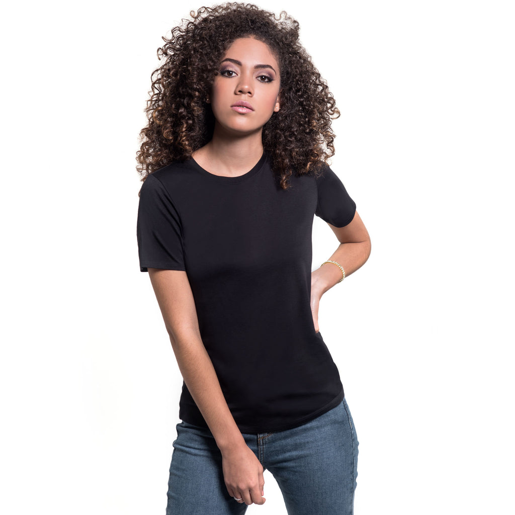 Women Short Sleeve Crew, Organic Pima cotton Tee, tee color Black
