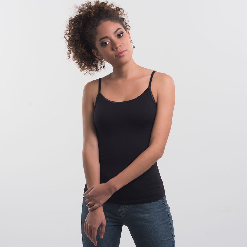 Women Cami, 95% organic Pima cotton and 5% stretch. FITTED. body color Black