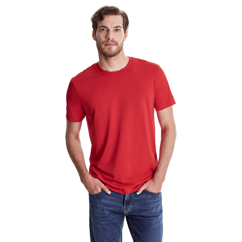 Men Short Sleeve Crew, Organic Pima cotton, Tee shirt color Red (Tango red)