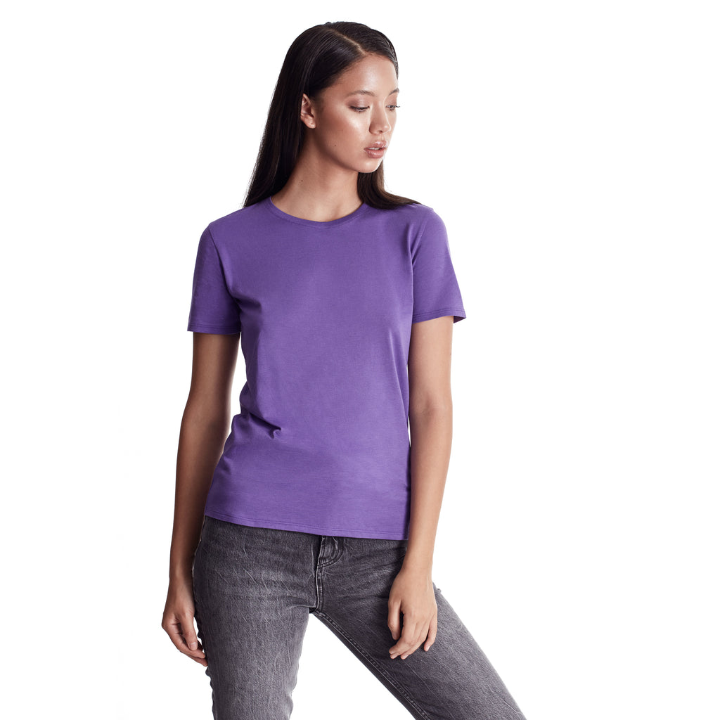 Women Short Sleeve Crew, Organic Pima cotton Tee, tee color Ultra Violet (violet tone)