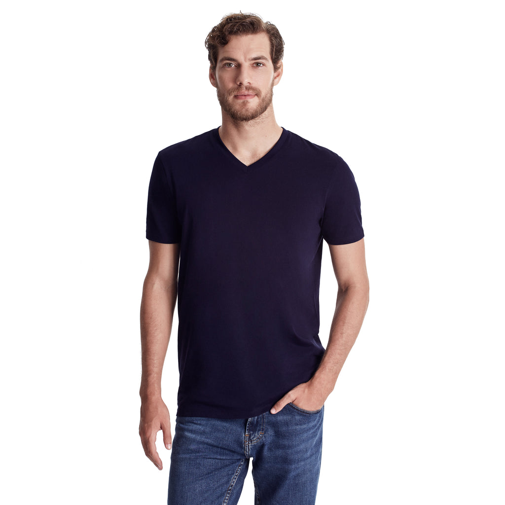 Men High V-Neck Short Sleeve Tee, Organic Pima cotton, slim fit, Tee color Navy