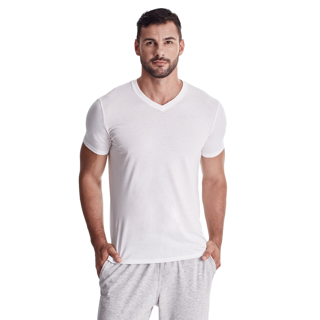 Men Short Sleeve V-Neck Undershirt, Organic Pima cotton, Tee Color White (model Pic)