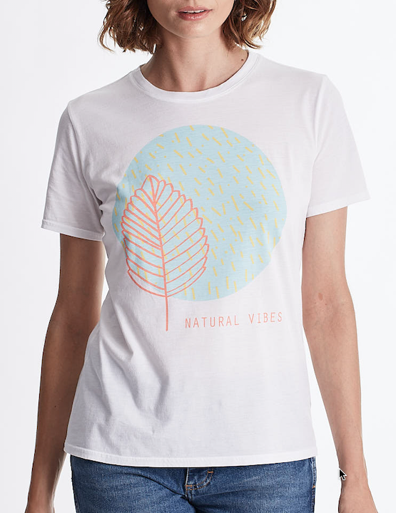 "Women ""Natural Vibes"" graphic tee, Crew neck short sleeve. organic Pima cotton, Tee Color White"