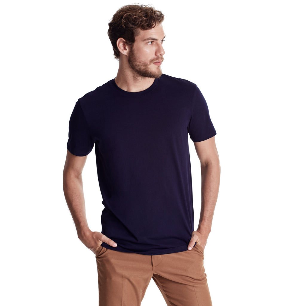 Men Short Sleeve Crew, Organic Pima cotton, Tee shirt color Navy