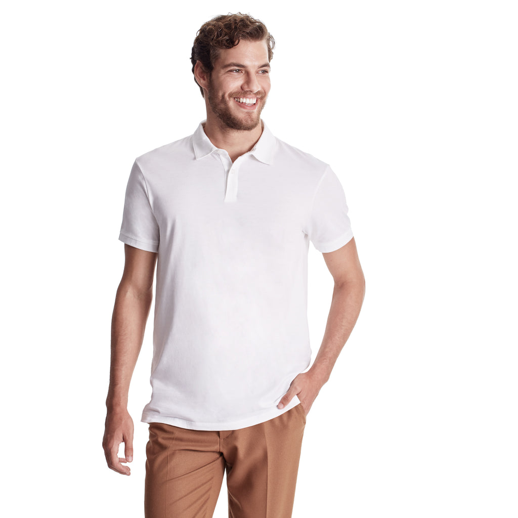 Men Polo, Short Sleeve, 2 Button Placket, Organic Pima cotton, Slim fit, body color White