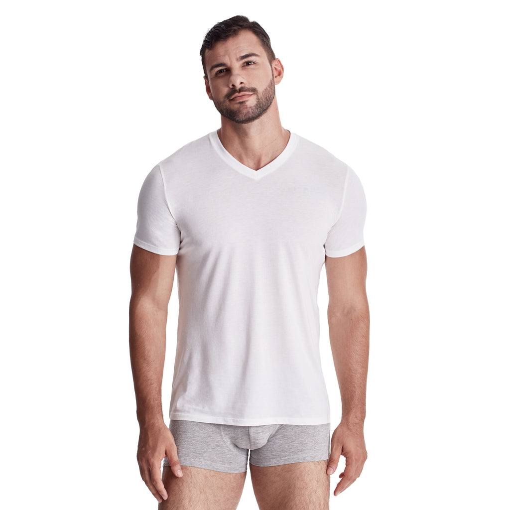 Men's V-Neck Undershirt, 100% Organic Peruvian Pima Cotton