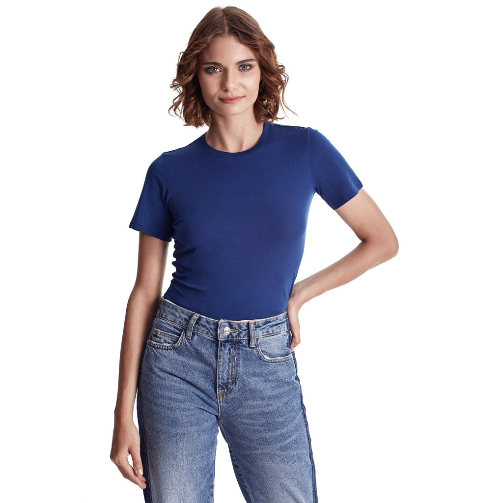 Women Short Sleeve Crew, Organic Pima cotton Tee, tee color Navy Peony (medium Blue tone)