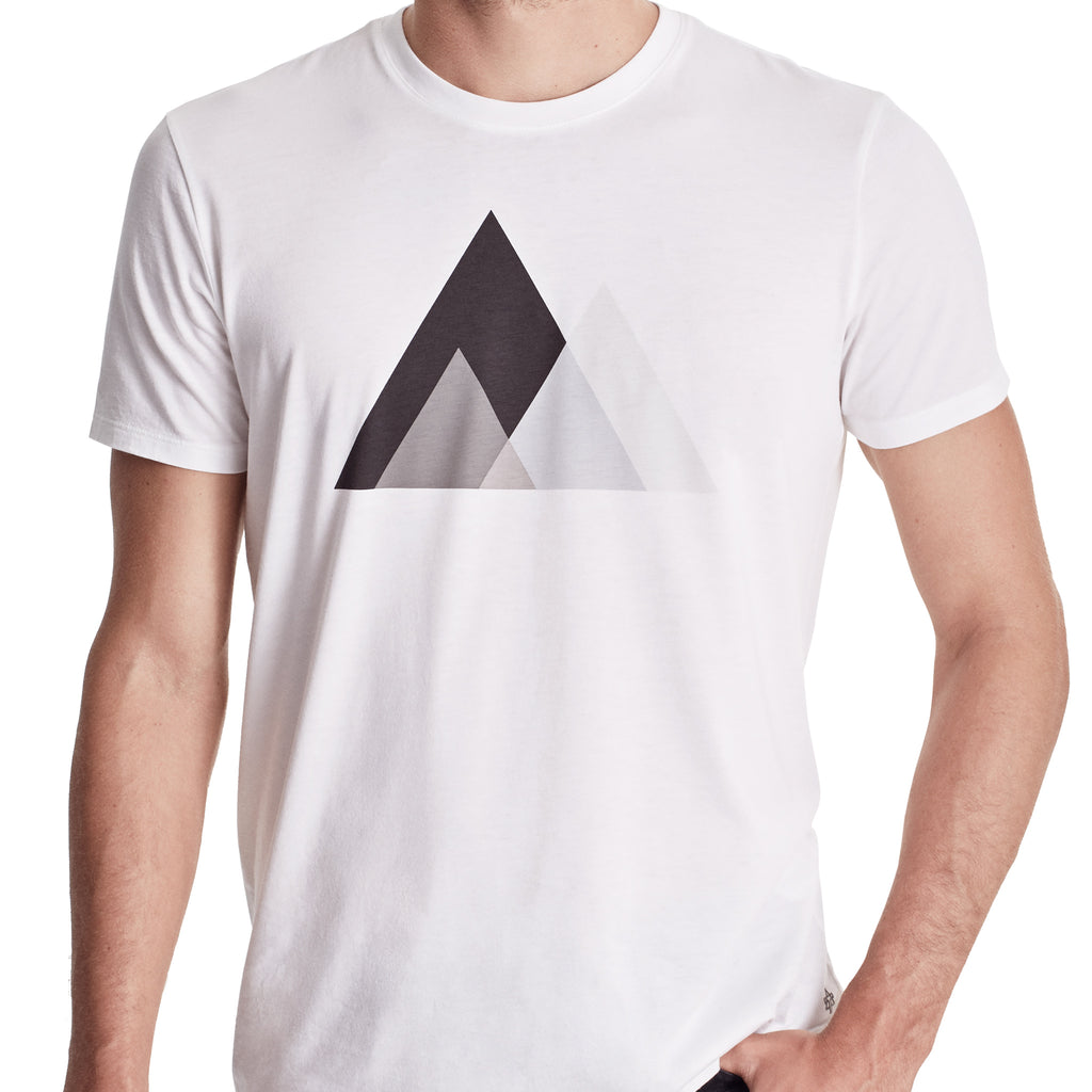 Men Graphic Tee with Mountain graphic, Organic Pima cotton, short sleeve crew, color white