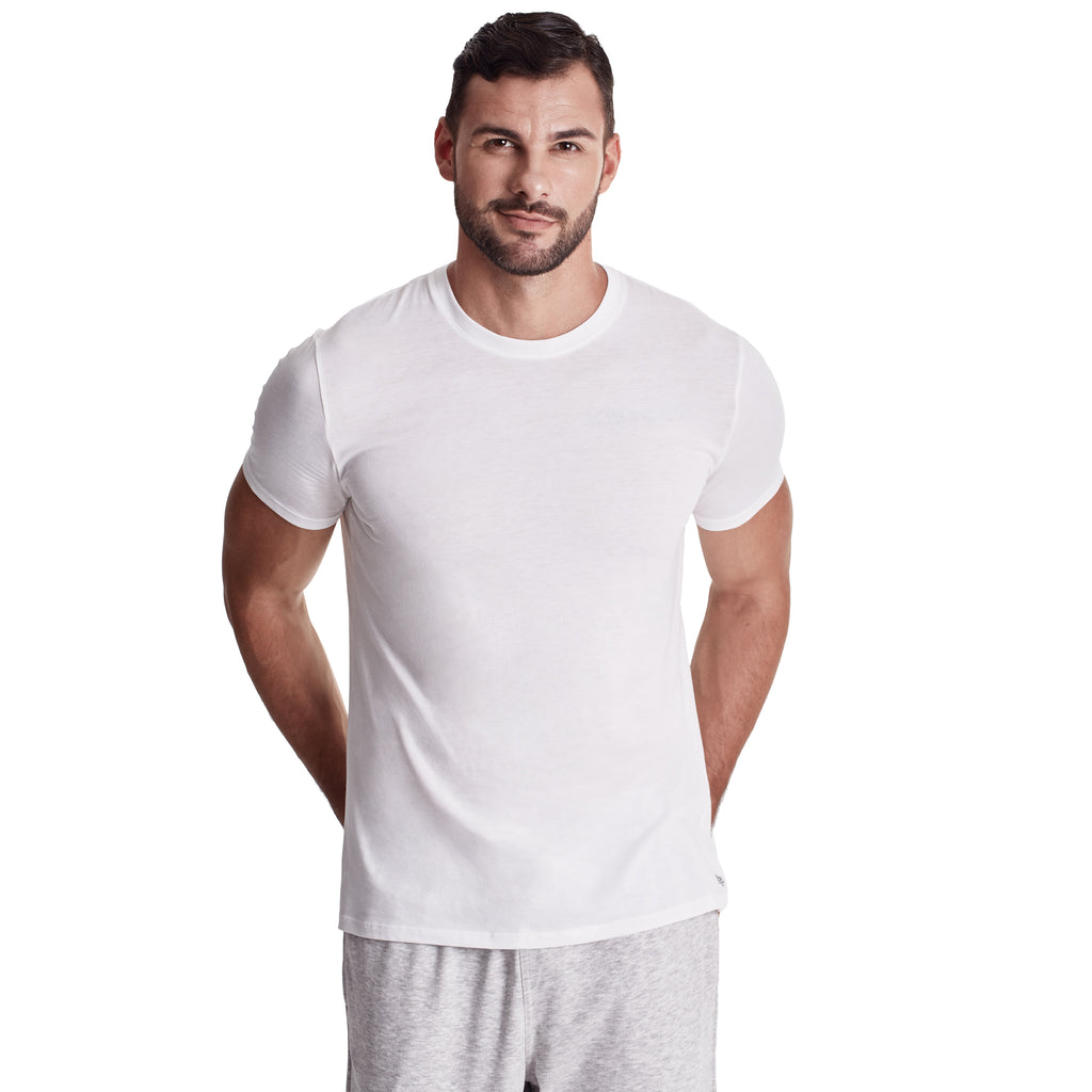 Men Short Sleeve Crew Undershirt, Organic Pima cotton, Tee Color White (model Pic)