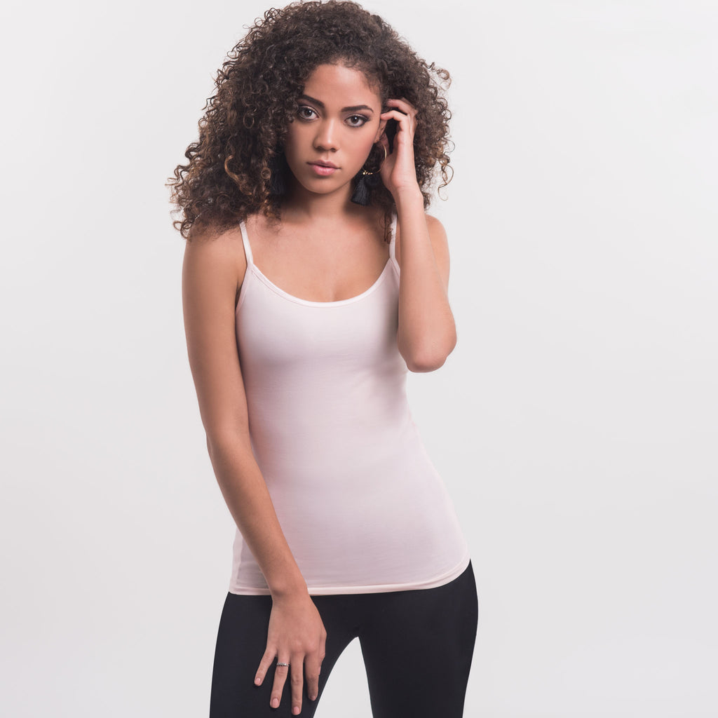 Women Cami, 95% organic Pima cotton and 5% stretch. FITTED. body color Peach Blush (soft pink tone)