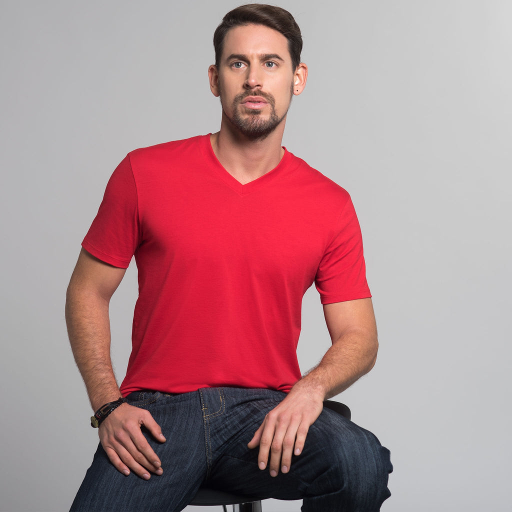 Men High V-Neck Short Sleeve Tee, Organic Pima cotton, slim fit, Tee color Tango Red (lighter tomato tone)