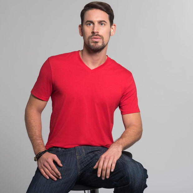 Men V-Neck Tee, 100% Organic Peruvian Pima Cotton