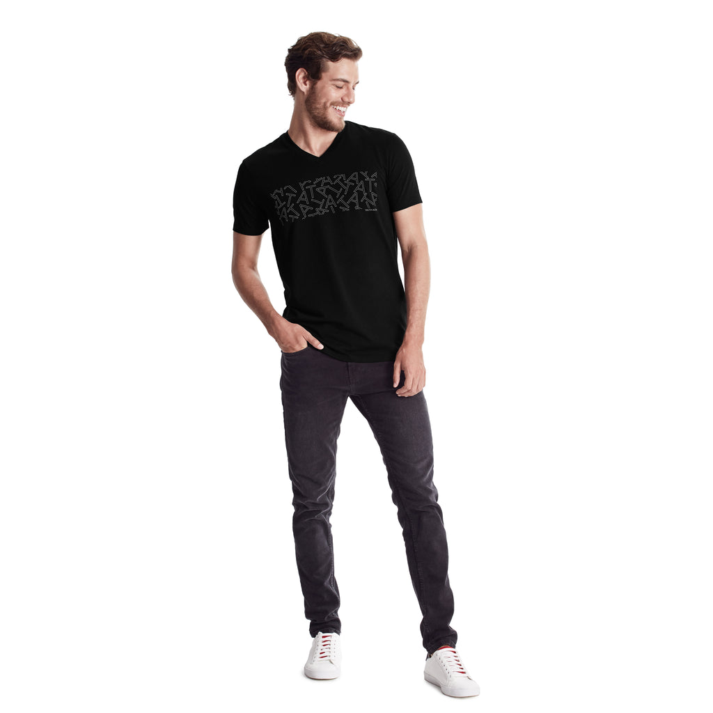 "Men Graphic Tee with ""TA Scramble"" graphic in white letters, V-neck Body, short sleeve, Organic Pima cotton, Slim fit, tee color Black"