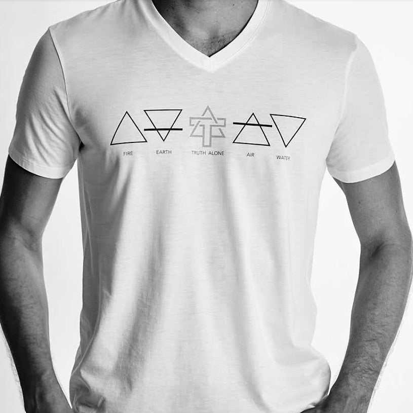 Men Earth Symbols (Fire, earth, air, water and Truth Alone) Graphic tee. V-neck short sleeves, organic pima cotton, slim fit, black and white header image