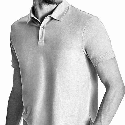 Men Polo, Short Sleeve, 2 Button Placket, Organic Pima cotton, Slime fit, Black and white header Image