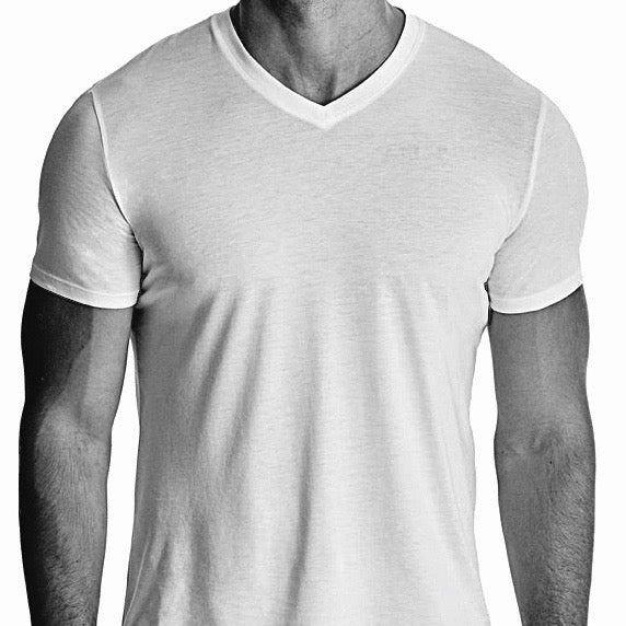 Men Short Sleeve V-Neck Undershirt, Organic Pima cotton, Black and White header image